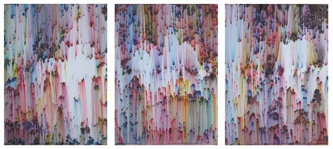 Double waterfalls, triptyque